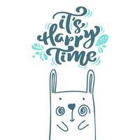 La sua calligrafia Happy Time lettering scandinavo testo. Cartolina d'auguri di natale con l'illustrazione disegnata a mano di vettore di coniglio. Oggetti isolati
