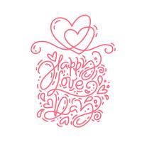 Frase di amore di vettore rosso monoline calligrafia Happy Love Day. Lettering disegnato a mano di San Valentino. Doodle di schizzo di cuore vacanza Disegno cartolina di San Valentino. amo l'arredamento per il web, il matrimonio e la stampa. Illustraz