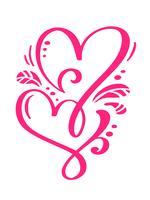 Cuori calligrafici disegnati a mano di giorno di biglietti di S. Valentino rossi di vettore delle coppie. San Valentino di elemento di design di vacanza. Icona love decor per web, matrimonio e stampa. Illustrazione di lettering calligrafia isolato