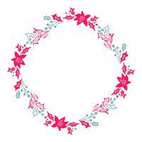 Gli elementi floreali rossi e blu di progettazione dell'inverno disegnati a mano della corona di Natale isolati su fondo bianco per retro progettazione fioriscono. Vector calligrafia e lettering illustrazione