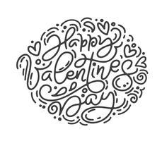 Frase di calligrafia di vettore monoline Buon San Valentino. Lettering disegnato a mano di San Valentino. Doodle di schizzo di cuore vacanza Disegno cartolina di San Valentino. amo l'arredamento per il web, il matrimonio e la stampa. Illustrazione iso