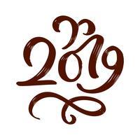 Handwritting testo di calligrafia di vettore di flourish 2019. Nuovo anno disegnato a mano e numero 2019 di iscrizione di Natale Illustrazione per la cartolina d'auguri, invito, etichetta di feste