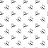 Fondo sveglio disegnato a mano del modello del cuore della tazza di giorno di biglietti di S. Valentino. Caffè senza cuciture dell'illustrazione di vettore, tè per amore e nozze, cartolina d'auguri ed invito vettore