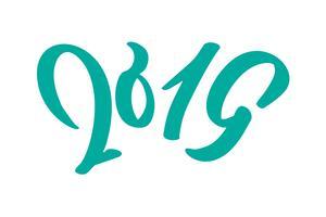 Handwritting testo di calligrafia di vettore 2019. Capodanno disegnato a mano e Natale lettering numero 2019. Illustrazione per biglietto di auguri, invito, vacanze tag, isolato su sfondo bianco