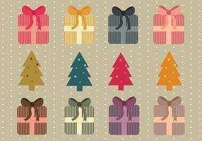 Pacchetto di vettore semplice regali di Natale e alberi