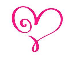 Due cuori calligrafici disegnati a mano di giorno di biglietti di S. Valentino d'annata rossi di vettore. Illustrazione lettering calligrafia. San Valentino di elemento di design di vacanza. Icona love decor per web, matrimonio e stampa. Isolato vettore