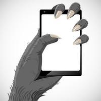 Gorilla a mano che mantiene lo smartphone tra i suoi artigli. vettore