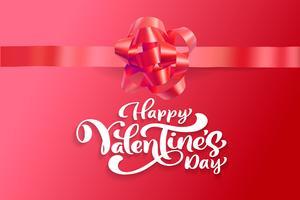 Vector testo Felice giorno di San Valentino design tipografia per biglietto di auguri e poster. Citazione di San Valentino su uno sfondo rosso vacanze. Illustrazione di celebrazione del modello di progettazione