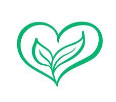 Forma di cuore icona verde vettoriale e due foglie. Può essere utilizzato per eco, assistenza sanitaria a base di erbe vegana o design del logo di cura della natura