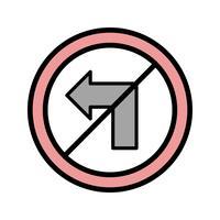 Vettore Nessuna icona di svolta a sinistra