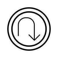 Icona di inversione a U di vettore