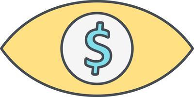 Icona di vettore del dollaro dell'occhio