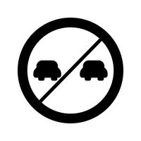 Icona di sorpasso proibito di vettore
