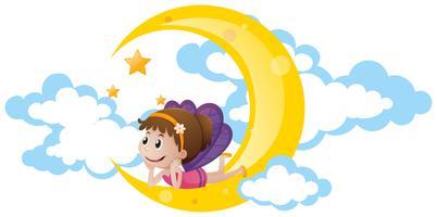 Fata carino seduto sulla luna vettore