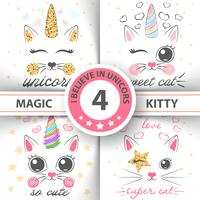 Gatto, gattino, unicorno, caticorn, - illustrazione del bambino. idea per t-shirt stampata.