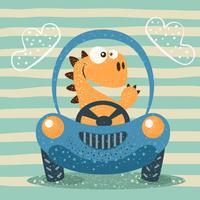 Dino carino guida auto divertente.