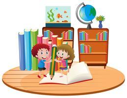 Tema educativo con bambini che scrivono sul libro vettore