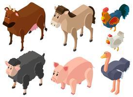 Progettazione 3D per animali da fattoria vettore