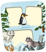 Modello di carta con animali in inverno vettore
