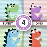 Illustrazione Dino carino. Quattro oggetti vettore