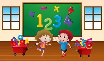 Bambini che imparano la matematica in classe vettore