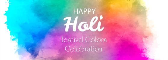 illustrazione del modello di intestazione Happy Holi colorato vettore