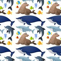 Design senza cuciture con animali marini