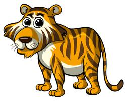 Tigre selvaggia su sfondo bianco vettore