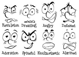 Volti umani con diverse emozioni vettore