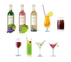 Pacchetto di vettore di bevande, vino e cocktail