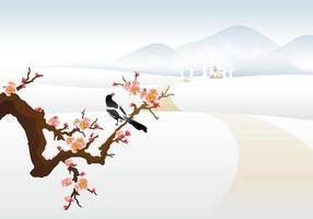 Carta da parati di paesaggio invernale vettoriale