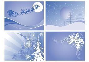 Pacchetto di sfondi vettoriali di Christmas Landscapes