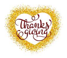 Parola di ringraziamento su fondo oro a forma di cuore. Illustrazione disegnata a mano d'annata di vettore dell'iscrizione di calligrafia EPS10