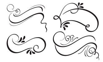 Set di Banner decorativo cornice cornice e bordi di arte del nastro di calligrafia. lettering illustrazione vettoriale EPS10