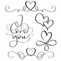 Ti amo testo con cuori su sfondo bianco. Illustrazione disegnata a mano EPS10 di vettore dell'iscrizione di calligrafia