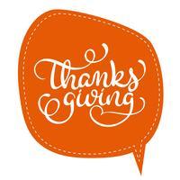 Parola di ringraziamento sul telaio tag arancione su sfondo. Illustrazione disegnata a mano EPS10 di vettore dell'iscrizione di calligrafia