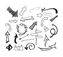 Insieme di vettore di frecce di doodle schizzo disegnato a mano. Illustrazione isolato su sfondo bianco.