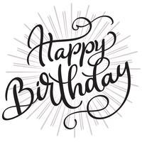 Parole di buon compleanno su sfondo bianco. Illustrazione disegnata a mano EPS10 di vettore dell'iscrizione di calligrafia