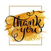Grazie giorno testo su sfondo oro acrilico. Illustrazione disegnata a mano EPS10 di vettore dell'iscrizione di calligrafia