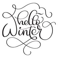 Ciao testo di calligrafia invernale su sfondo bianco. Illustrazione disegnata a mano di vettore dell'iscrizione EPS10