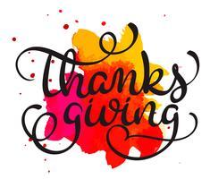 Parola di ringraziamento su sfondo rosso e arancione della macchia. Illustrazione disegnata a mano EPS10 di vettore dell'iscrizione di calligrafia