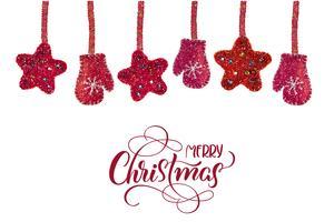 stelle e muffole rosse di natale giocattoli sfondo e testo non bianchi Buon Natale. Illustrazione disegnata a mano di vettore dell'iscrizione EPS10