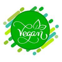 Concetto di logo vegano. Segno di vettore Lettere scritte a mano per ristorante bar