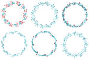 Set di cornice decorativa rotonda e bordi art. Illustrazione EPS10 di vettore di calligrafia
