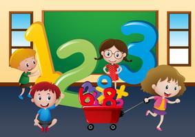 Bambini felici con grandi numeri in classe vettore
