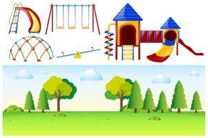 Scena del parco con molte stazioni di gioco vettore