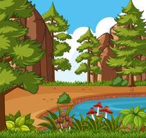 Scena di sfondo con piccola piscina nella foresta vettore