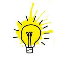 Schizzo della lampadina con il concetto di idea. Doodle segno disegnato a mano. Illustrazione vettoriale
