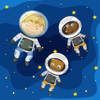 Un astronauta e un animale domestico nello spazio vettore