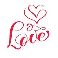 rosso amore calligrafia lettering parola vettoriale con il logo dei cuori. Felice giorno di San Valentino carta. Tipografia divertente dell'inchiostro del pennello per sovrapposizioni di foto, stampa di t-shirt, flyer, poster design